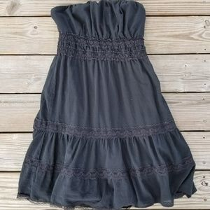 Tiered lace Strapless lined cute casual boho silk